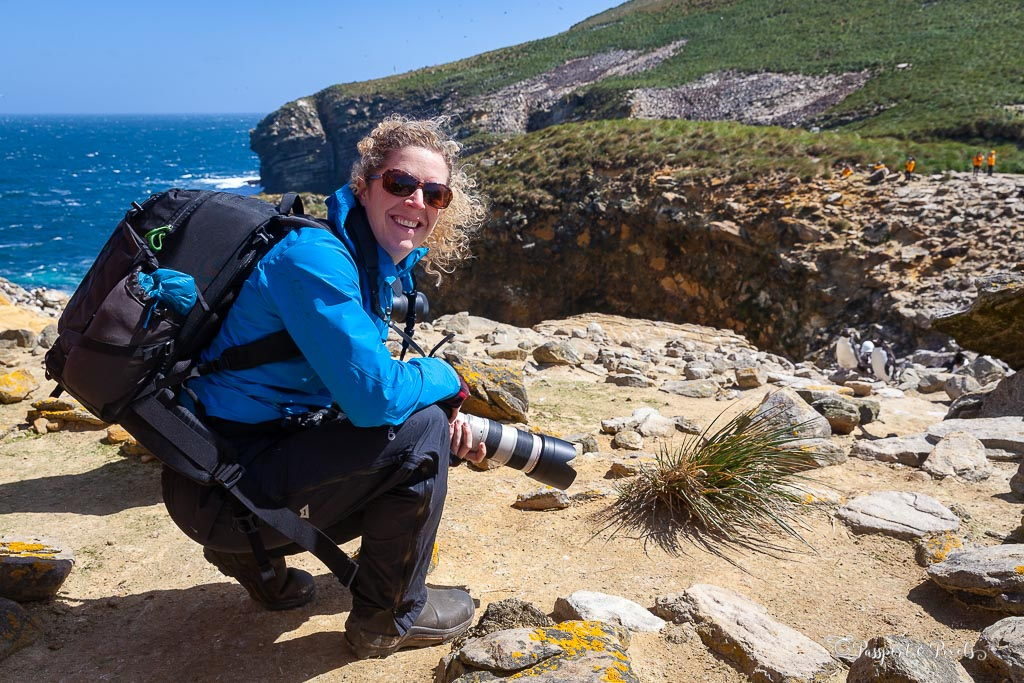 A photographer on the Falkland Islands