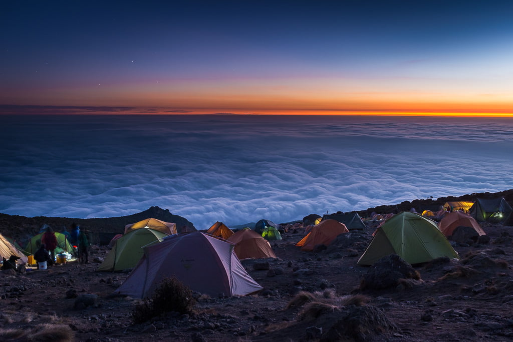Travel photography tips for beginners: Karanga Camp on Mount Kilimanjaro, Tanzania.
