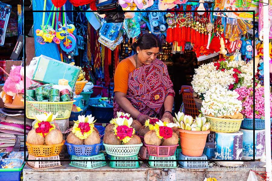 Market trader in Mysore, India