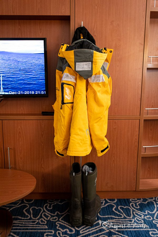 Antarctic clothes: expedition parka and muck boots