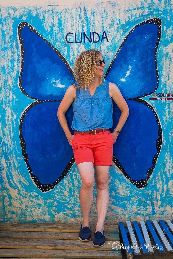 Posing for photos in Cunda, Turkey