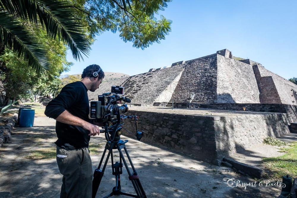 Filming the ruins of the main temple pyramid at Tenayuca, Mexico