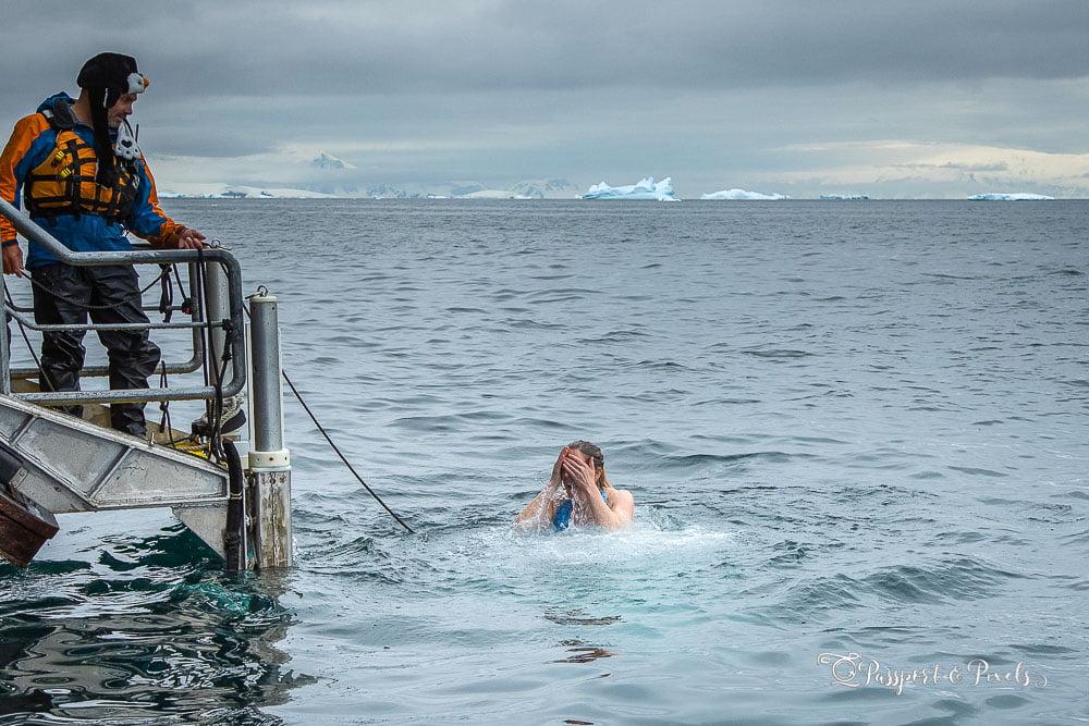 Swimming in the sea in Antarctica